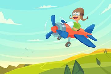 Boy flying in airplane. Funny cartoon illustration