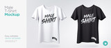 Men's white and black t-shirt with short sleeve mockup. Front view. Vector template. - 212875370
