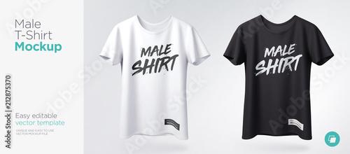 T-shirt męski biały i czarny z makietą z krótkim rękawem. Przedni widok. Szablon wektor.
