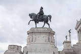 statue of man on horse. Rome city, Italy