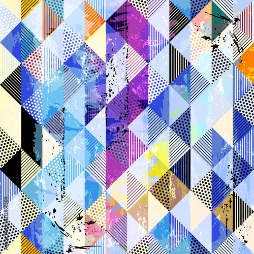 Fotobehang Abstract met Penseelstreken abstract geometric background pattern, with squares, dots, paint strokes and splashes