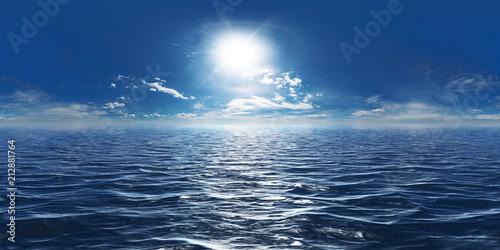 canvas print picture Meer, Sonne und wenig Wolken 360° Panorama