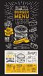 Burger restaurant menu. Vector food flyer for bar and cafe. Design template on blackboard with vintage hand-drawn illustrations. - 212887175