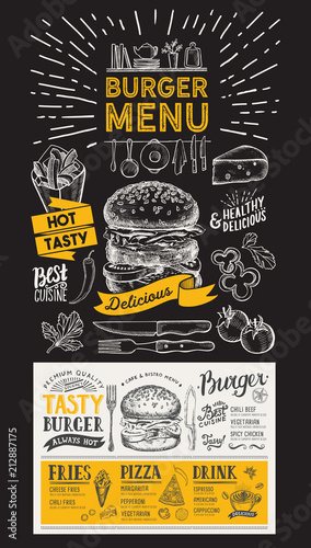 Burger restaurant menu. Vector food flyer for bar and cafe. Design template on blackboard with vintage hand-drawn illustrations. - 212887175