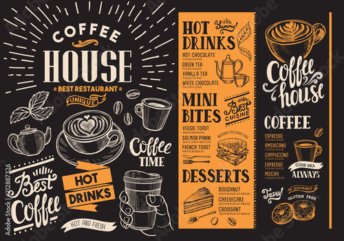 Fototapeta Coffee restaurant menu. Beverage flyer for bar and cafe. Design template with vintage hand-drawn food illustrations.