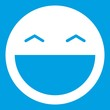 Laughing emoticon white isolated on blue background vector illustration