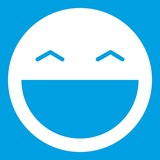 Laughing emoticon white isolated on blue background vector illustration - 212891107