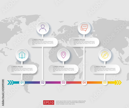 5 steps infographic. timeline design template with 3D paper label and world map background. Business concept with options. For content, diagram, flowchart, steps, parts, workflow layout, chart