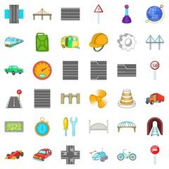 Bridge under tunnel icons set. Cartoon style of 36 bridge under tunnel vector icons for web isolated on white background © ylivdesign