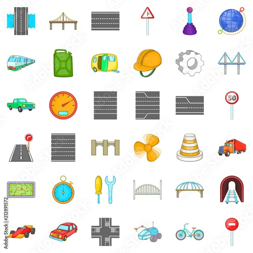 Poster Bridge under tunnel icons set. Cartoon style of 36 bridge under tunnel vector icons for web isolated on white background
