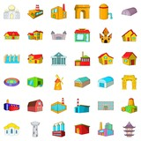 Big building icons set. Cartoon style of 36 building vector icons for web isolated on white background - 212891995