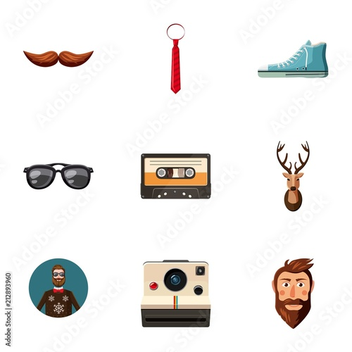 In de dag Hipster Hert Hipster man toolsicons set. Cartoon set of 9 hipster man toolsvector icons for web isolated on white background