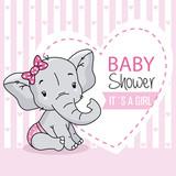 baby girl arrival card. cute baby elephant. - 212896181