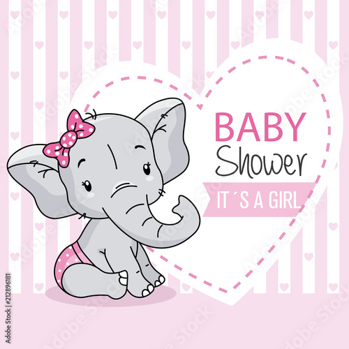 baby girl arrival card. cute baby elephant.