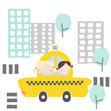 Cheerful girlfriends in a taxi ride to the city. Kids graphic. Vector hand drawn illustration. - 212896776