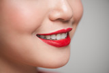 Close-up of beautiful perfect red lips. Selective focus. - 212898756