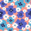 Stylish floral background with blue poppies and daisies - 212900329