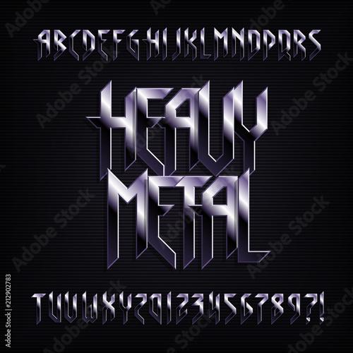 Litera alfabetu ciężkiego metalu. Efekty metalowe błyszczące litery, cyfry i symbole. Wektor krój pisma dla swojego projektu.