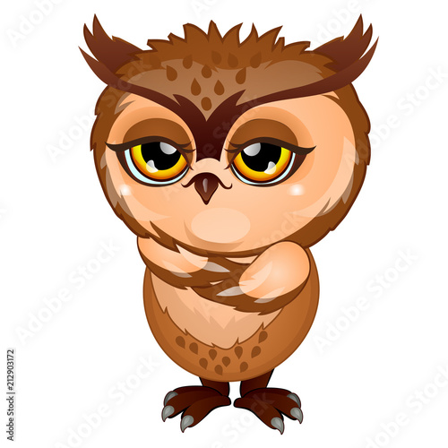 Fotobehang Uilen cartoon Wise brown owl isolated on white background. Cartoon vector close-up illustration.