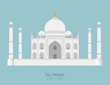 Modern design poster with colorful background of Taj Mahal (Agra, India). Vector illustration