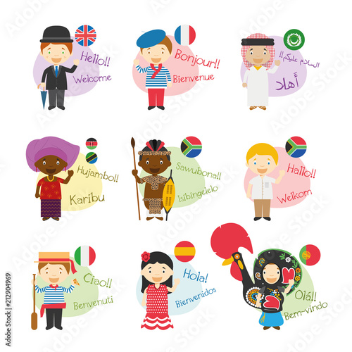 Fototapeta Vector illustration set of cartoon characters saying hello and welcom in 9 languages spoken in Africa