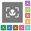 Camera macro mode square flat icons
