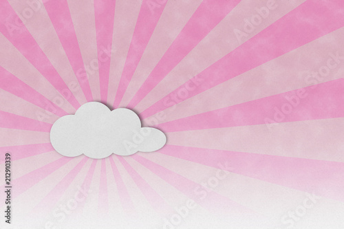 Light sun ray and clouds frame on pink paper textured background - 212910339