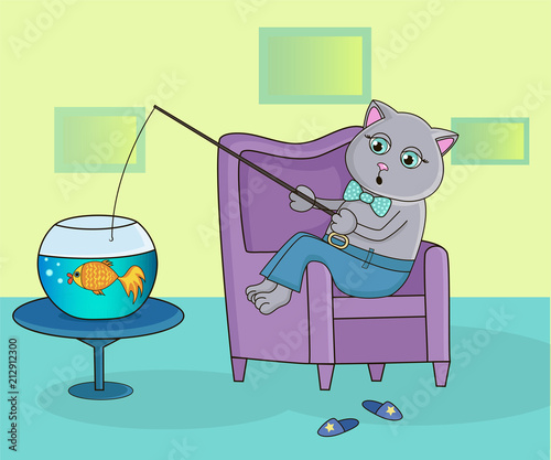 Cat sitting in a chair and catches fish in the aquarium - 212912300