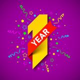 One year anniversary celebration card design - 212912519