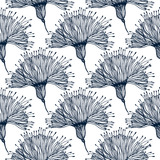 Seamless pattern with doodly naive linear flower.