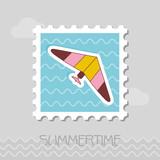 Hang Glider stamp. Summer. Vacation - 212913149