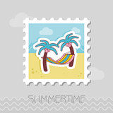 Hammock with palm trees on beach stamp. Vacation - 212913191