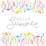 Summer background with rainbow herbal silhouettes - 212914571