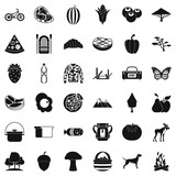 Forest rest icons set. Simple style of 36 forest rest vector icons for web isolated on white background - 212915737