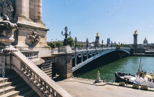 Fridge magnet Pont Alexandre III bridge over river Seine. Bridge decorated with ornate Art Nouveau lamps and sculptures. Paris, France