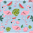 flying flamingo pattern seamless with shadow - 212918344