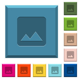 Image engraved icons on edged square buttons