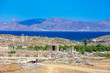 Leinwanddruck Bild - Ancient ruins in the island of Delos in Cyclades, one of the most important mythological, historical and archaeological sites in Greece.
