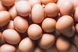 fresh chicken eggs, top view. - 212923714
