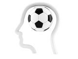 Soccer ball inside head profile - 212936554