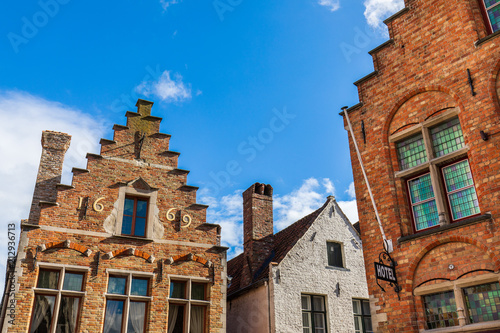 Vibrant facades of the old houses at the historical center of Brugge, Belgium