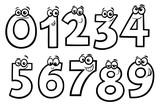 basic numbers cartoon set coloring book - 212938934