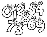 cartoon basic numbers group coloring book - 212938943