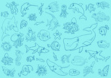 sea life animals background pattern - 212938978