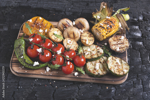 vegetable grilled tomatoes pepper paprika corn potatoes mushrooms - 212943379