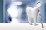 Tooth and dentist mirror - 212943597