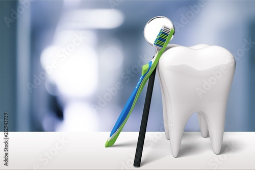 Tooth and dentist mirror - 212943739