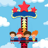 Children ride giant drop at theme park