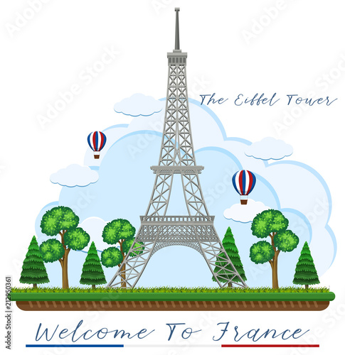 Fridge magnet Welcome to France with eiffel tower