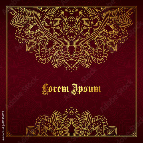 Greeting card, invitation or flyer template with golden mandala ornament. Hand drawn vector illustration